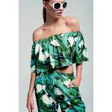 GREEN PALM PRINT OFF SHOULDER CROP TOP