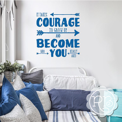 IT TAKES COURAGE Inspirational Wall Decal