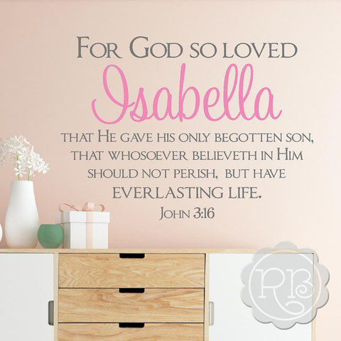 JOHN 3 16 Personalized Nursery Wall Decal
