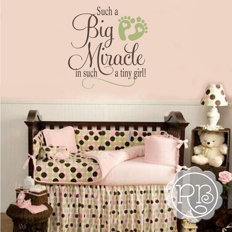 Such A Big Miracle In Such A Tiny Girl Nursery Decal
