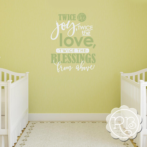 TWICE THE JOY Twins Nursery Wall Decal