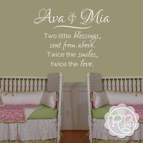 TWO LITTLE BLESSINGS Personalized Twins Nursery Wall Decal