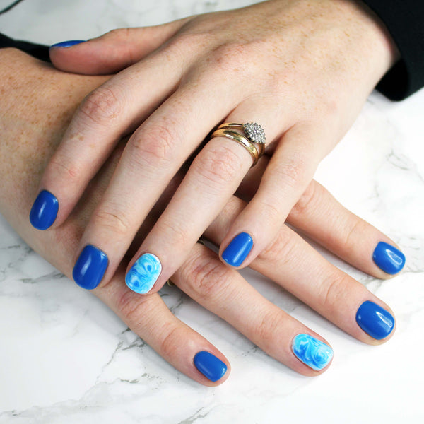 Blue Marble Nail Art Step-by-Step Instructions | Bio Sculpture GB