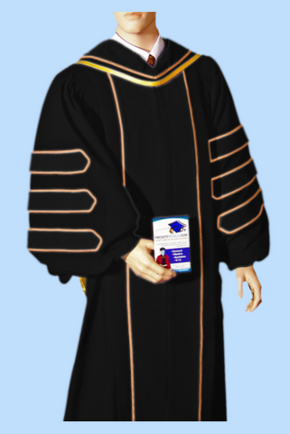 Superior Deluxe Doctoral Gown with Gold Piping