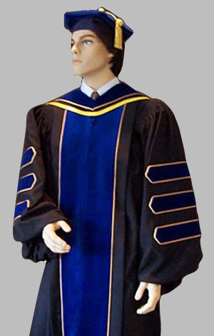 Superior Deluxe Ph.D. Gown with Gold Piping and Royal Velvet
