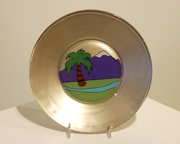 Jane Underhill • Hand-Painted Glass Plate • Palm Tree & Mountain