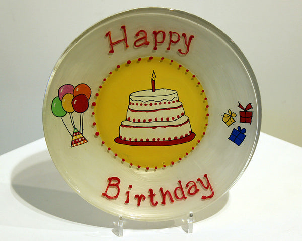 Jane Underhill • Hand-Painted Glass Plate • Happy Birthday