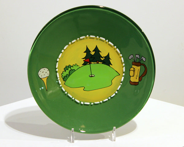 Jane Underhill • Hand-Painted Glass Plate • Golf