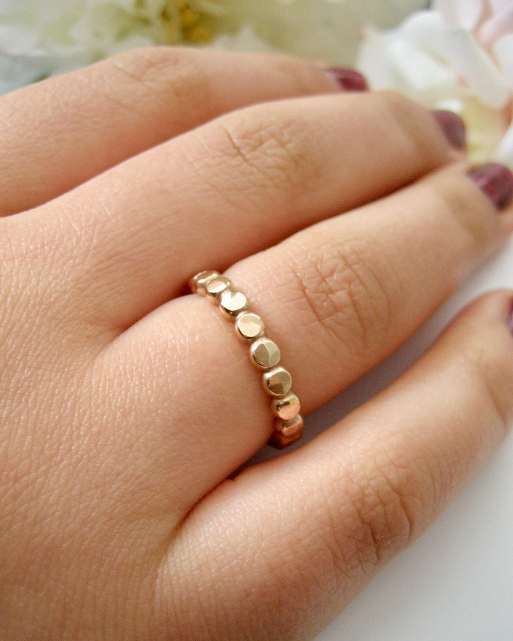 Bred guld ring hamrad 14k gold filled ring