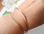 14K gold filled rund stel armband ring med hamrad yta