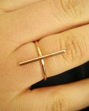 Bar ring i 14k gold filled och sterling silver
