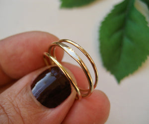 Guld ring 3 ringar i 14k gold filled, slät tunn ring