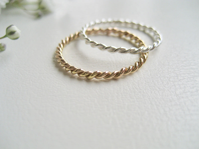 Tvinnad ring twist ring silver 925 eller 14k gold filled