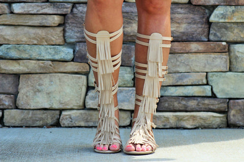 Rock Your World Beige Gladiators