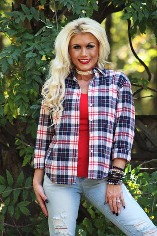 Let It Linger Red Plaid Top