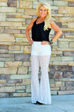 That Night Out Lace Pants Bell Bottom White