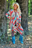 Spice Night Cardigan Creme W/Orange & Blue Aztec Pattern