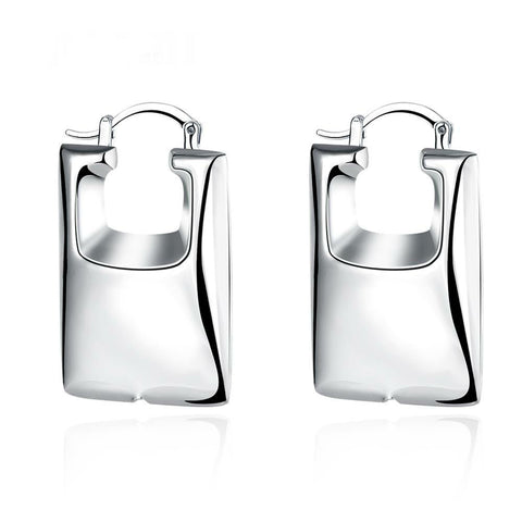 Beautifully Crafted Rectangular Shaped Silver Plated Hoop Earrings