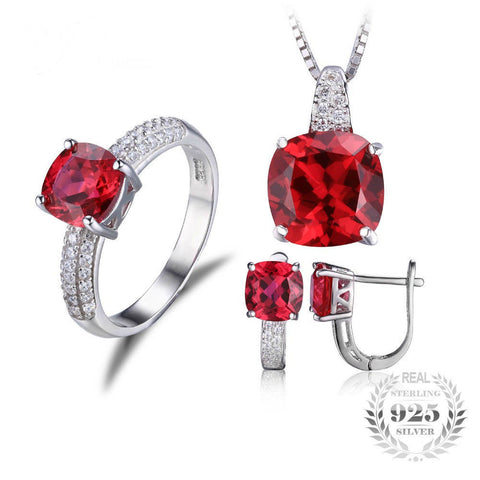Created Ruby Ring, Necklace & Clip Earrings Jewelry Set