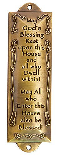 Bless This House Brass Mezuzah with Hebrew Parchment in Gift Box & Placement Guide by Unbranded