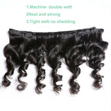 7A Peruvian Loose Wave 3 Bundles With Closure (Free Part)