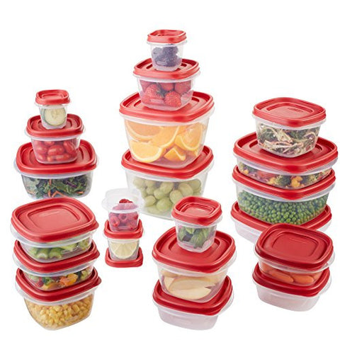 Rubbermaid Easy Find Lids Food Storage Container, 42-piece Assorted Set, Red