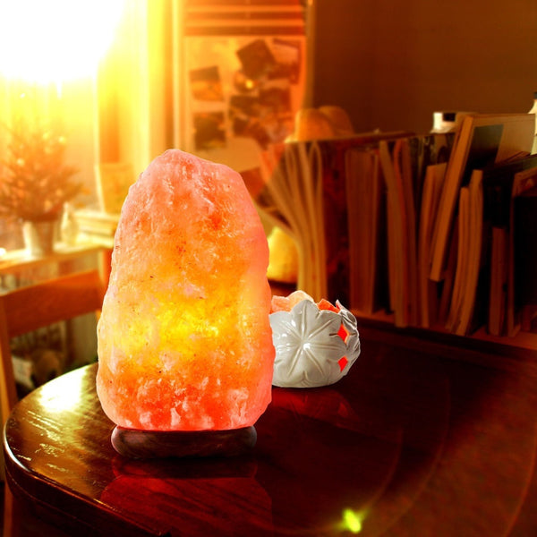 Natural Himalayan Salt Lamp Hand Carved With Elegant Wood Base. Includes Bulbs