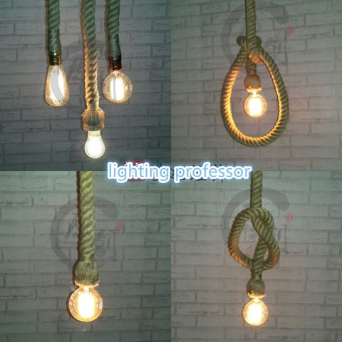 Vintage Decor Style Single Heads Rope Pendant Lights