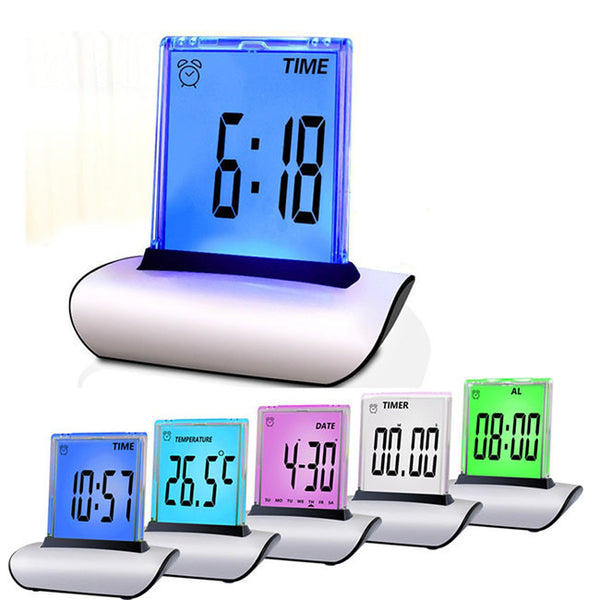 Seven Colors LED Screen Digital Alarm Table Clocks with Calendar Thermometer