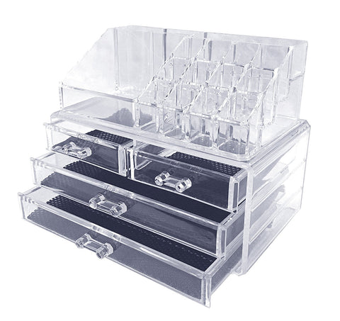Marvel O Bug Acrylic Makeup Cosmetic Organizer and Storage Drawers, Two Pieces Set
