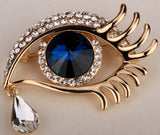 Angel Eye & Teardrop Brooch Pin w/ Austrian Crystal