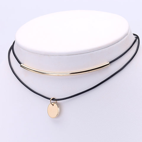 Chick and stylish Multilayer Gold Plated Coins Pendant Choker Necklace