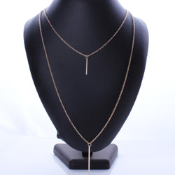 Trendy Gold Plated 3 Layer Chain Bar Necklace
