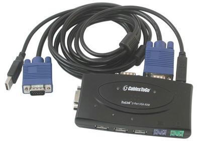 2-Port KVM Switch USB-PS-2 with Cables