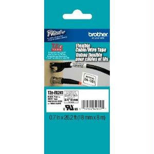 Brother International Corporat 18mm (0.7) Black On White Flexible Id Tape 8m (26.2 Ft)