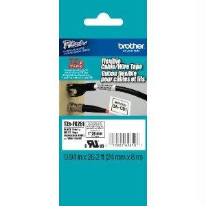 Brother International Corporat 24mm (0.94) Black On White Flexible Id Tape 8m (26.2 Ft)