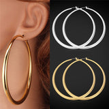 Trendy Large Gold / Titanium Plated Hoop Earrings
