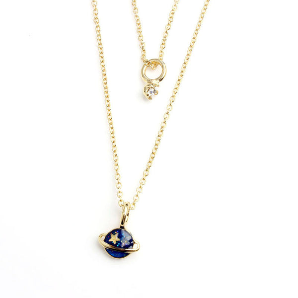Hot Fashion Gold Plated Moon Star and Planet Pendant Layer Necklace