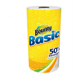 Bounty® Basic Paper Towels, White, 44 Sheets Per Roll, Case Of 30 Rolls