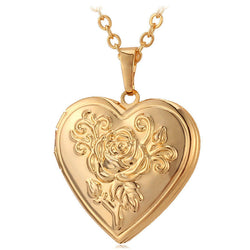 Vintage Heart Photo Locket w/ Rose Flower Design Pendant Necklace