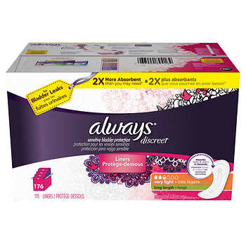 Always Discreet Incontinence Very Light Long Liners, 176-count