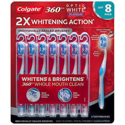 Colgate 360 Optic White Platinum Toothbrush, 8-pack