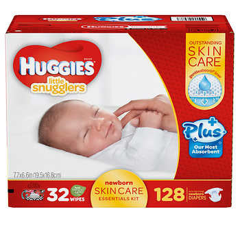 Huggies Little Snugglers Plus Diapers New Born Skin Care Essentials Kit