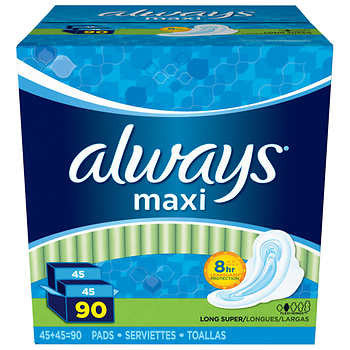 Always Maxi Long Super Pads, 90-count for her