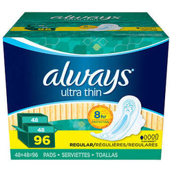 Always Ultra Thin Regular Pads, 96-count for her