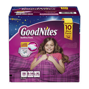 GoodNites for Girls Size L/XL; 58ct
