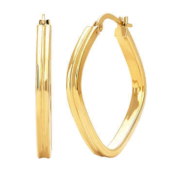Stylish 14kt Yellow Gold Square Hoop Earrings
