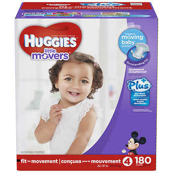Huggies Little Movers Plus Diapers Size 4; 180ct