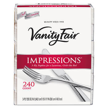 Vanity Fair Impressions Dinner Napkins 3-ply White 240ct