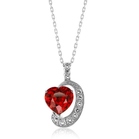 "Elegant White Sapphire 6ct Created Ruby Heart Pendant w/ 18"" Sterling Silver Chain"